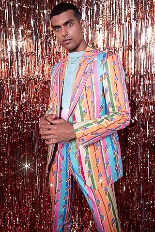 Multi Colored Cotton Jacket Set by Siddhartha Bansal Men