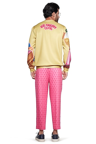 Pink Cotton Pant With Hearts by Siddhartha Bansal Men
