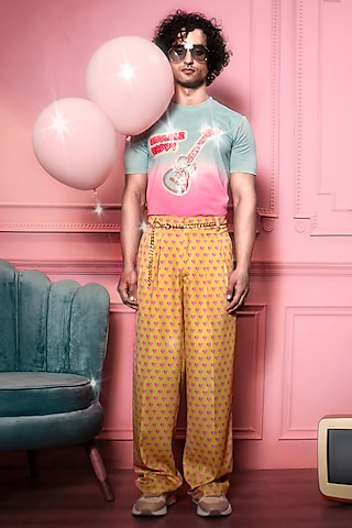 Yellow Cotton Pants With Hearts by Siddhartha Bansal Men