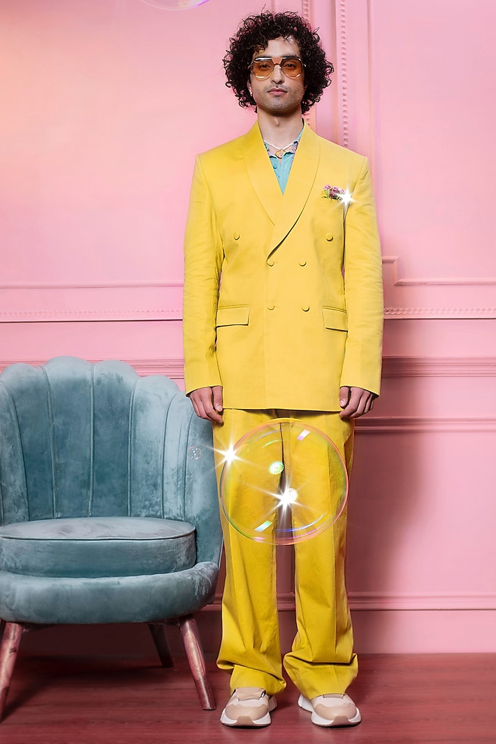 Yellow Cotton Jacket Set by Siddhartha Bansal Men