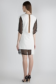 White Triad Hand Woven Mini Dress by Suede by Devina Juneja