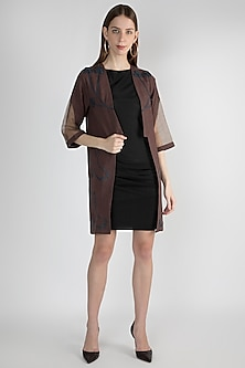 Brown Embellished & Handwoven Kimono Jacket by Suede by Devina Juneja