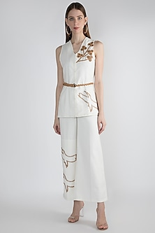 White Embellished Pantsuit by Suede by Devina Juneja