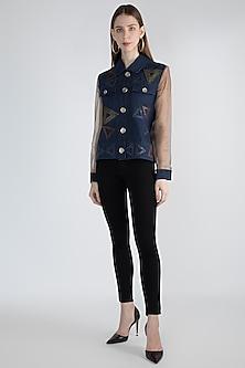 Blue Embellished Short Jacket by Suede by Devina Juneja
