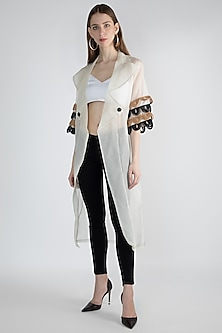 White Embroidered Kimono Jacket by Devina Juneja