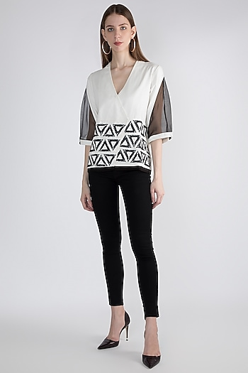 White Triad Hand Woven Top by Devina Juneja