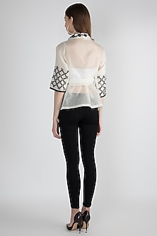 White Appliqued Wrap Top With Slip by Devina Juneja