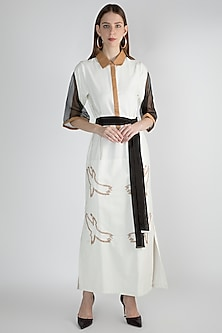 White Handwoven Maxi Dress by Suede by Devina Juneja