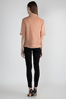 Nude Leather Piped Line Shirt by Suede by Devina Juneja