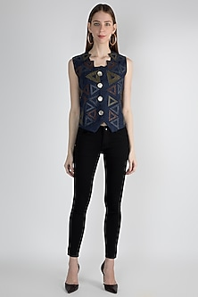 Blue Embellished Waist Coat by Devina Juneja