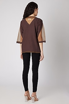 Brown Cotton Canvas Top by Devina Juneja