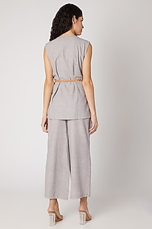 Grey Bird Embellished Pantsuit With Belt by Devina Juneja