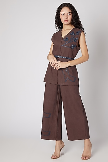 Brown Bird Embellished Pantsuit With Belt by Devina Juneja