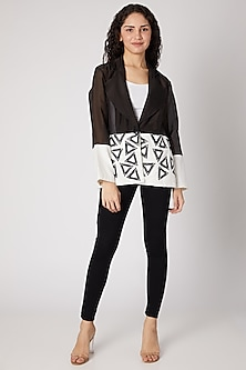 Black & White Blazer With Triangle Detailing by Devina Juneja