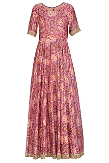 Pink Embroidered & Printed Anarkali Set by Shalini Dokania