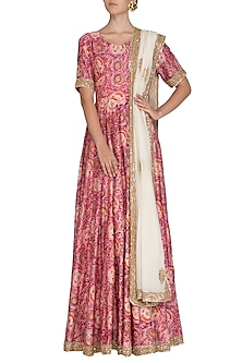 Pink Embroidered & Printed Anarkali Set by Shalini Dokania