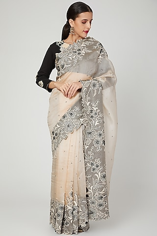 Blush Pink Embroidered Saree Set by Shalini Dokania