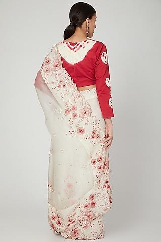 White Embroidered Saree Set by Shalini Dokania
