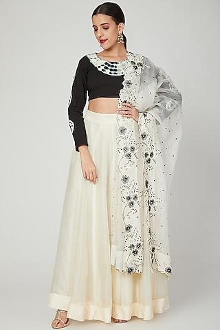 Black & White Embroidered Lehenga Set by Shalini Dokania