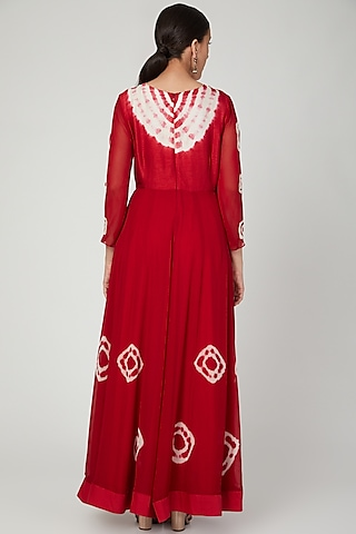 Red Embroidered Anarkali With Dupatta by Shalini Dokania