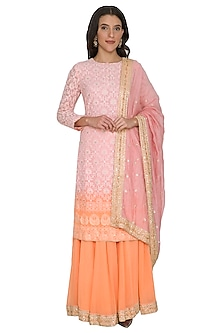 Old Rose Pink To Peach Ombre Chikankari Sharara Set by Shalini Dokania
