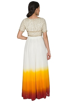 White Embroidered Crop Top With Shaded Skirt by Shalini Dokania