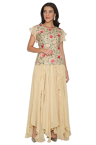 Beige Embroidered Top With Ruffled Skirt by Shalini Dokania
