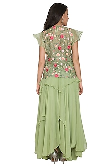 Teal Green Embroidered Top With Ruffled Skirt by Shalini Dokania