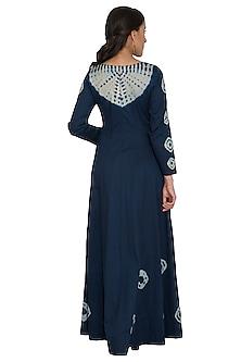 Indigo Blue Tie-Dye Anarkali With Dupatta by Shalini Dokania
