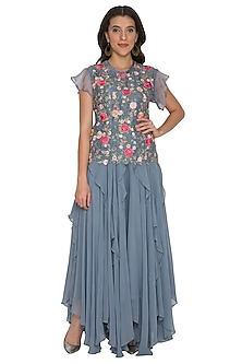 Grey Embroidered Top With Ruffled Skirt by Shalini Dokania