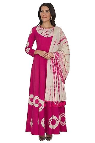Fuchsia Tie-Dye Anarkali With Dupatta by Shalini Dokania