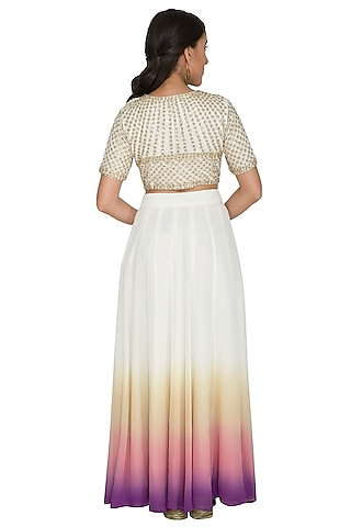 White Sequins Embroidered Crop Top With Shaded Skirt by Shalini Dokania