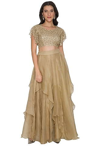 Gold Embroidered Crop Top With Ruffled Skirt by Shalini Dokania