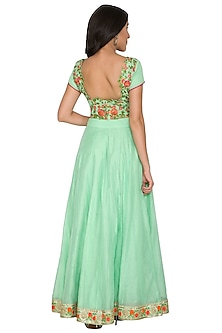 Mint Green Embroidered Blouse With Skirt by Shalini Dokania