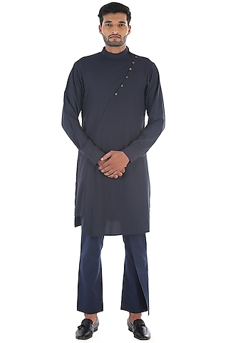 Grey Draped Cotton Kurta by Sadan Pande Men