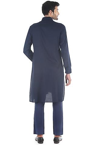 Navy Blue Draped Kurta  by Sadan Pande Men