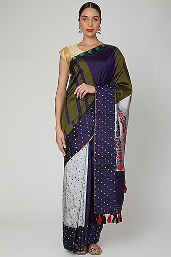 Multi Colored Handloom Saree Set by Sanjukta Dutta
