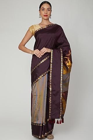 Wine Saree Set With Multi Colored Thread Detailing by Sanjukta Dutta