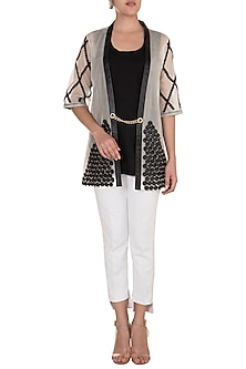 White Patterned Circle Short Kimono Jacket by Suede by Devina Juneja
