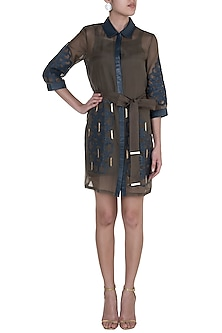 Brown Hexagon Mini Trench Dress With Inner by Suede by Devina Juneja