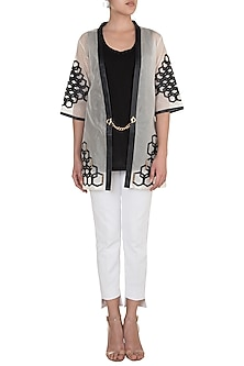 White Hexagon Patterned Short Kimono Jacket by Suede by Devina Juneja