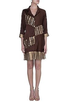 Coffee Brown Fringe Patterned Blazer Dress by Suede by Devina Juneja