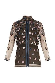 Brown Embellished Floral Jacket With Inner by Suede by Devina Juneja