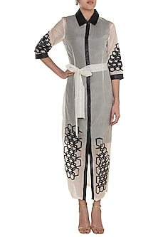 White Hexagon Maxi Trench Dress With Inner by Suede by Devina Juneja