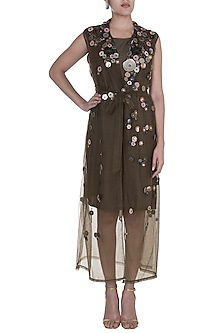 Brown Embellished Floral Long Jacket With Inner by Suede by Devina Juneja