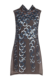 Brown Hexagon High Neck Dress With Inner by Suede by Devina Juneja