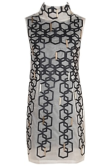 Black & White Hexagon High Neck Dress With Inner by Suede by Devina Juneja
