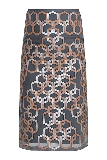 Grey Hexagon Pattern Pencil Skirt by Suede by Devina Juneja