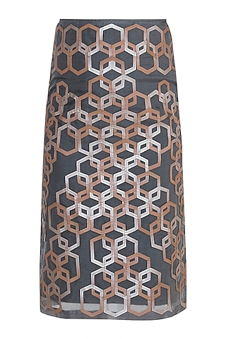 Grey Hexagon Pattern Pencil Skirt by Devina Juneja