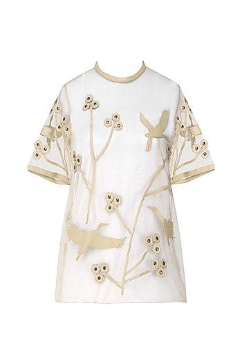 Nude Applique Work Tee by Suede by Devina Juneja
